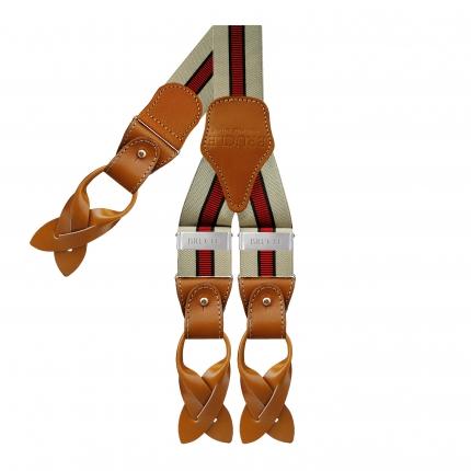 Y-shape elastic suspenders, beige and red regimental
