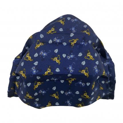 Masque filtrant en soie pour enfant avec singes, bleue