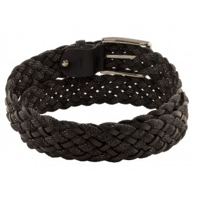Braided leather and jeans Belt black