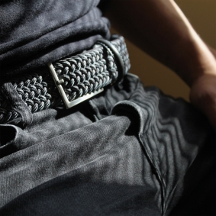 Cintura intrecciata elastica grigia melange