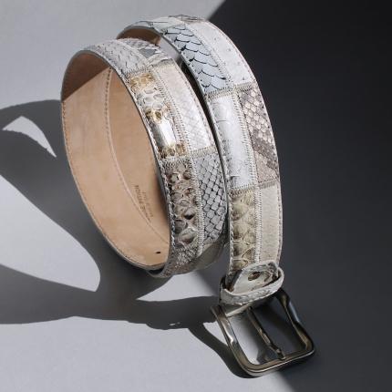 Cintura in pitone patchwork, bianco e roccia