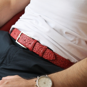 Genuine leather belt, red flower pattern