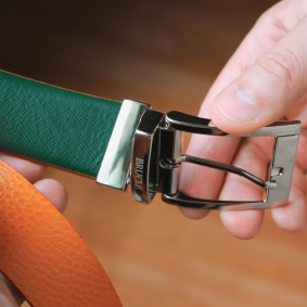 Cintura reversibile verde e arancione