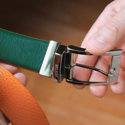 Reversible belt orange and green