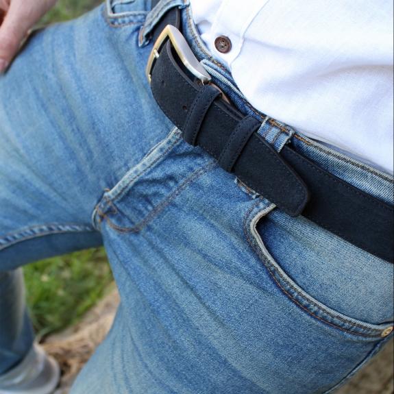 Cintura uomo blu in camoscio