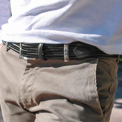 Braided elastic leather belt black