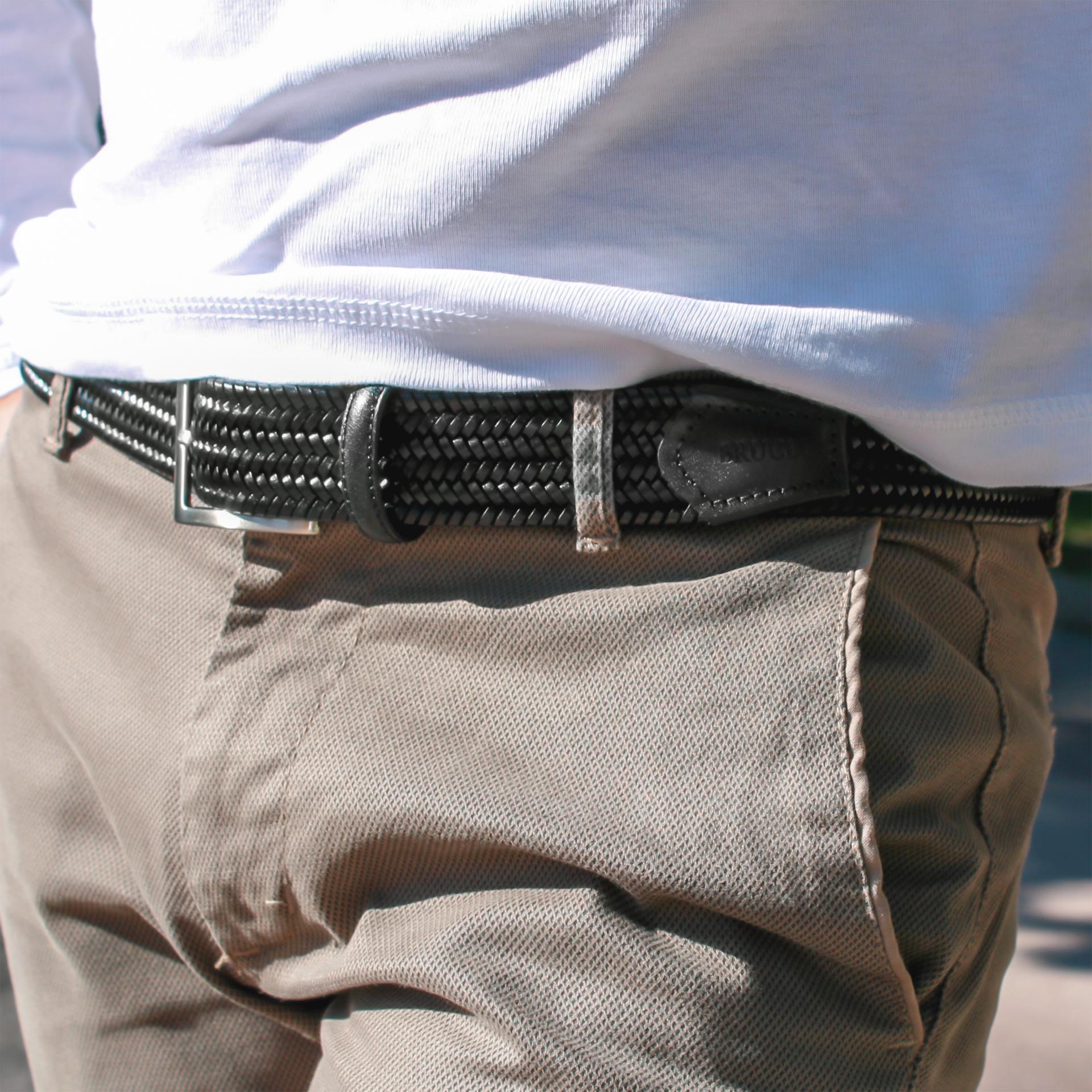 Cintura nera intrecciata in pelle elastica