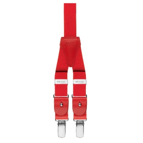 Y-shape elastic suspenders with clips, red