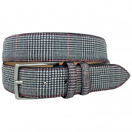 Men's check Galles pattern black white leather belt