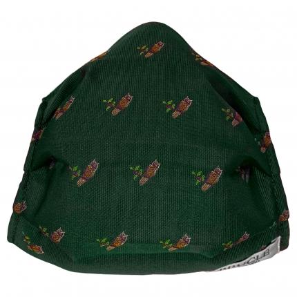 Schutzmaske grün seide mit Eulen