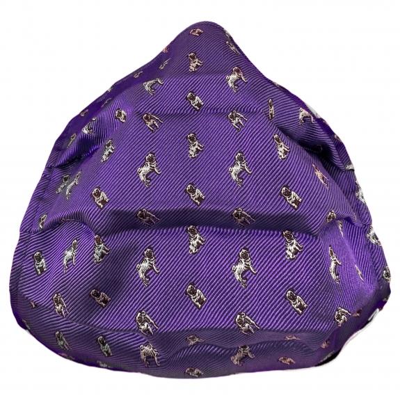 Wiederverwendbare stoffmaske seiden, lila mit mops