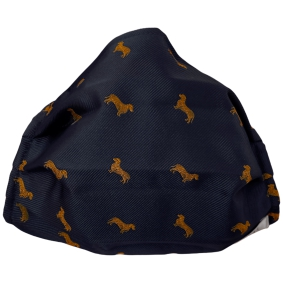Fashion protective fabric mask, silk, blue with dog