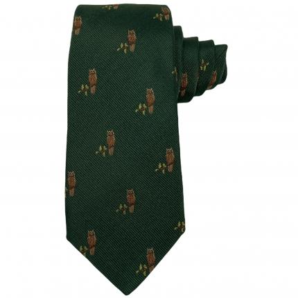 Cravatta e mascherina coordinata gufi verdi in seta