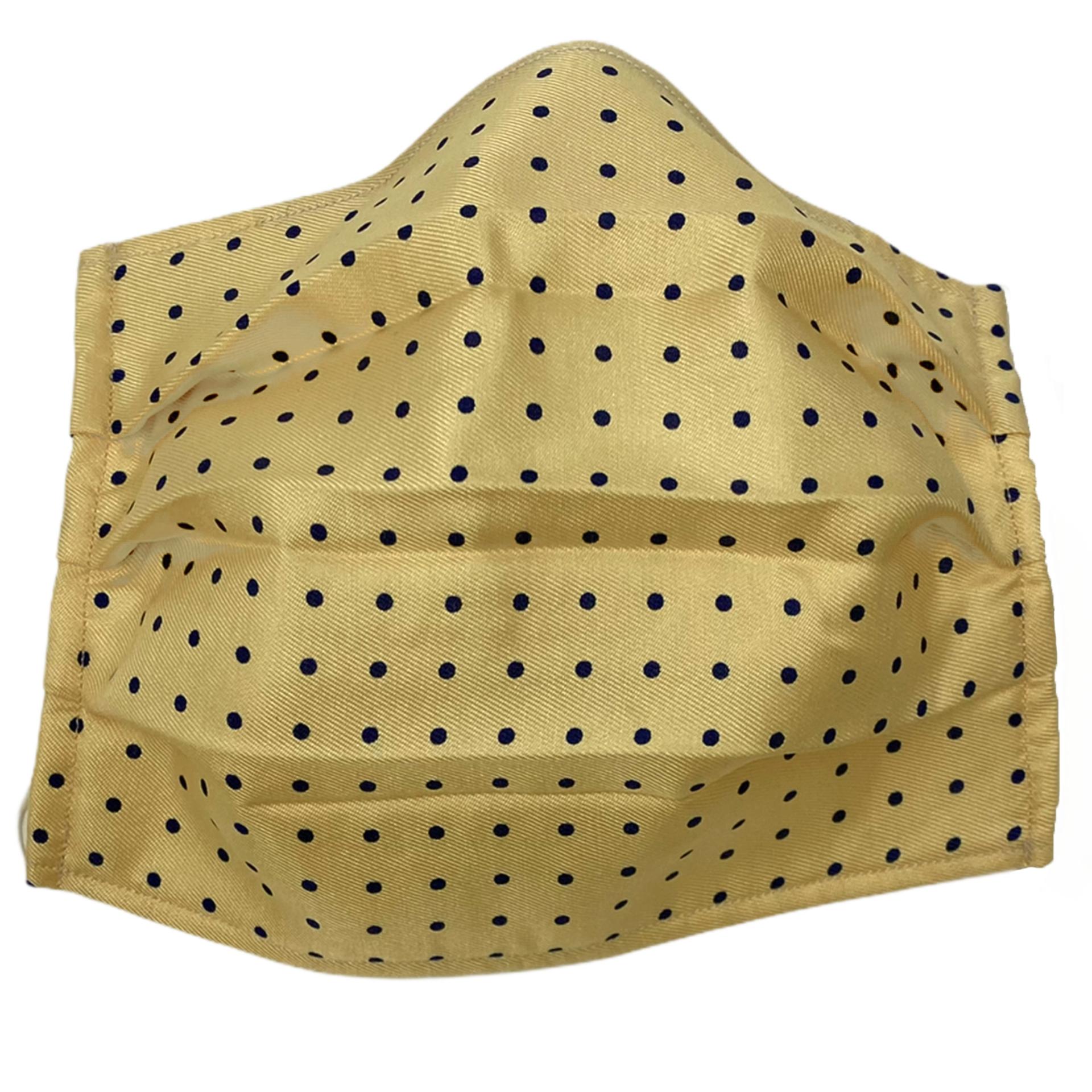Fashion washable protective fabric mask, silk, yellow dot