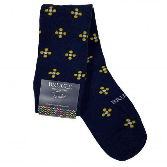 winter Socks mens blue flowers