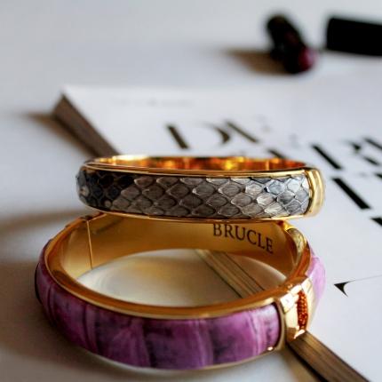 Python Leather Bracelet Buckle black silver