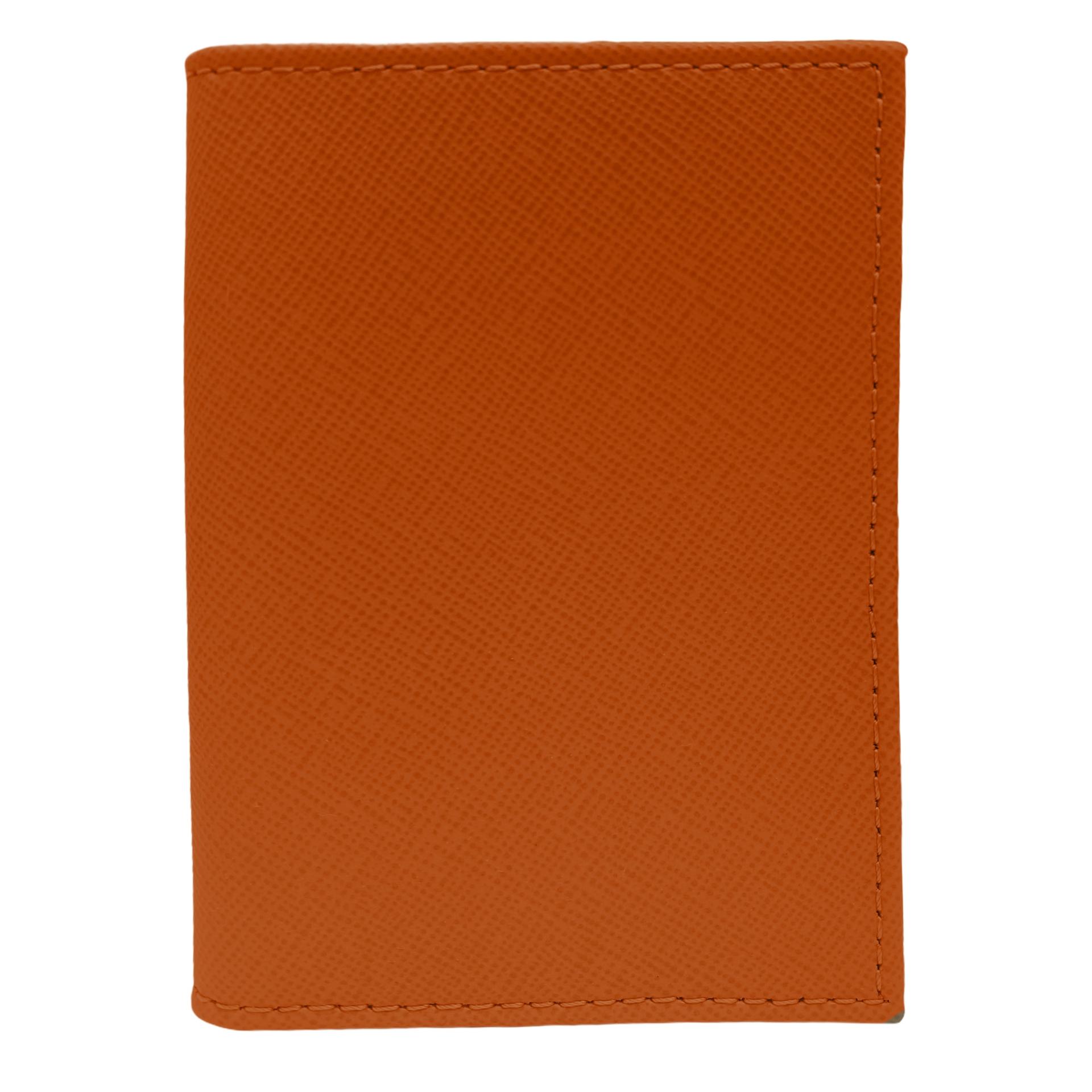 Porte carte de crédit orange saffiano