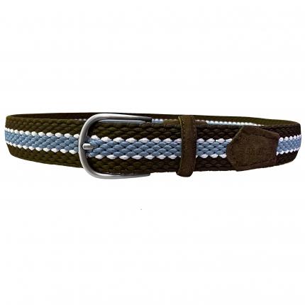 Elastik unisexe Gürtel braun weiß und hellblau