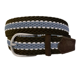 Braided Elastic Stretch Belt brown blue sky and white