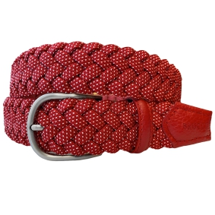 Cintura intrecciata elastica rossa a pois