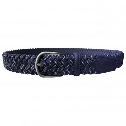 Cintura intrecciata elastica blu a pois