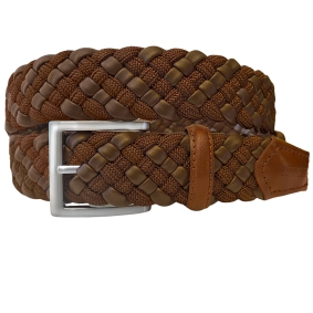 Braided Elastic Belt ecoleather brown