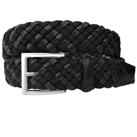 Braided Elastic Belt ecoleather black