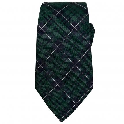 Cravatta in lana e seta tartan verde