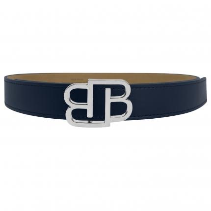 Cintura blu in cuoio fiorentino con fibbia BB nichel lucida