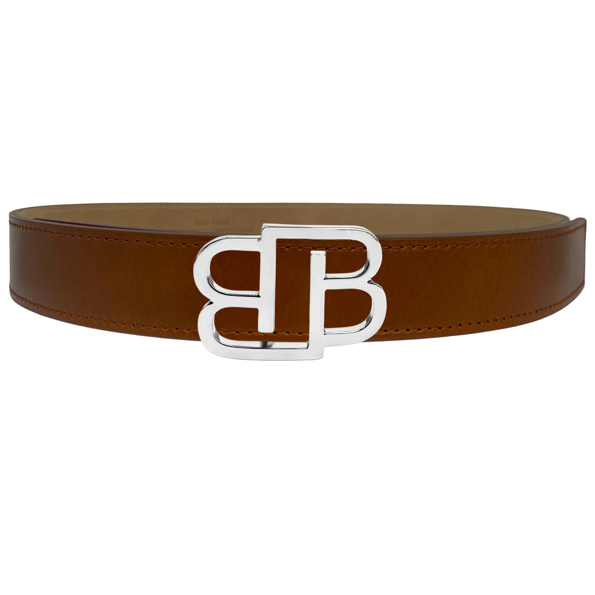 Genuine leather belt with BB nickel free buckle, brown