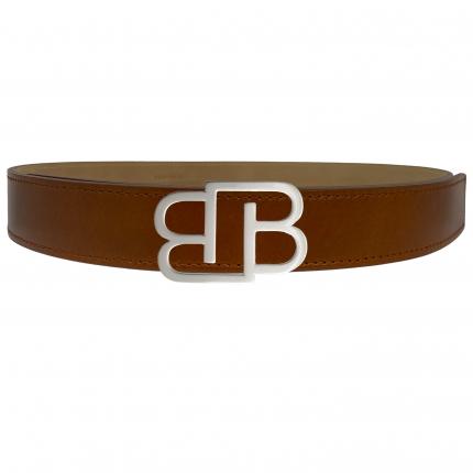 Cintura marrone gold in cuoio fiorentino con fibbia BB nichel lucida