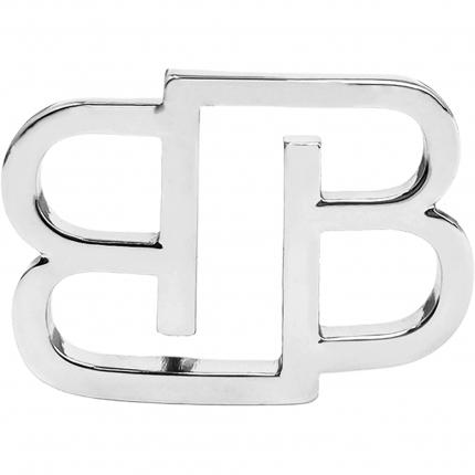 Fibbia BB nickel free per cinture da 35 mm, argento lucida