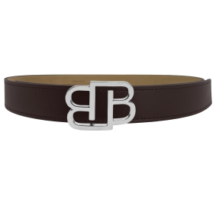 Genuine leather belt with BB nickel free buckle, dark brown