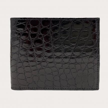 Portefeuille compact homme en cuir de crocodile, noir