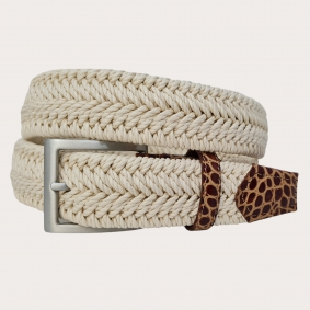 Braided elastic stretch belt, cream