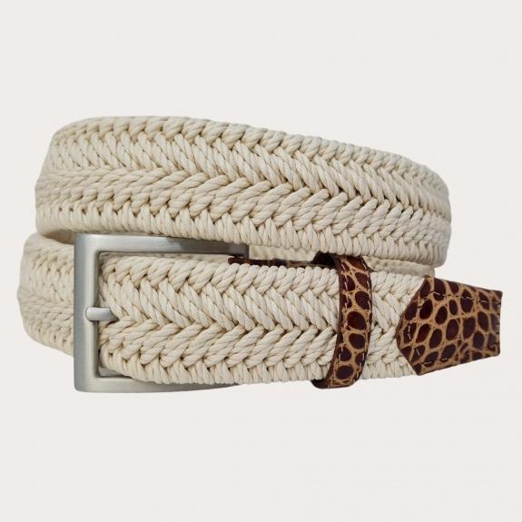 Cintura elastica intecciata bianca panna