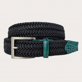 braided elastic belt black