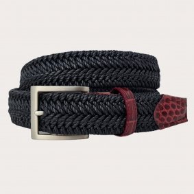 Braided elastic stretch belt, black with leather bordeaux