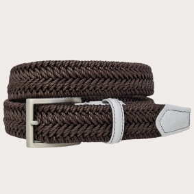 Braided elastic stretch belt, dark brow