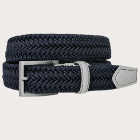 braided elastic belt blue navy
