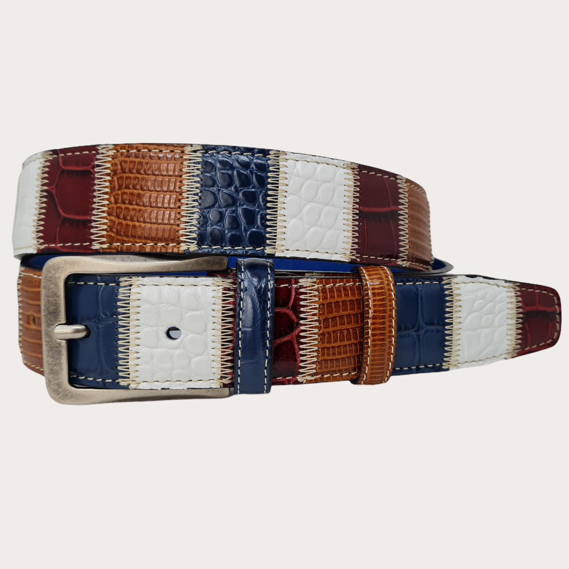 Genuine leather belt, multicolor patchwork