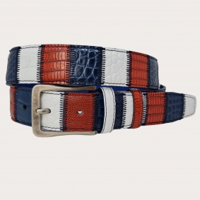 BRUCLE patchwork leather belt red blue white