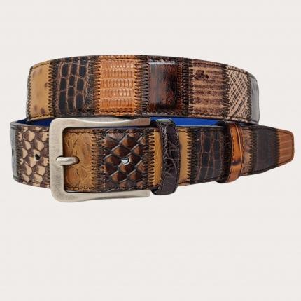 Genuine leather belt, brown patchwork