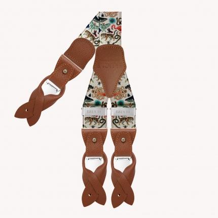 Y-shape elastic suspenders, fauna pattern