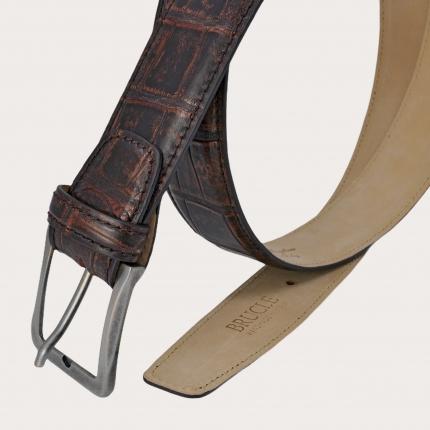 Brucle Genuine alligator leather belt, vintage burgundy