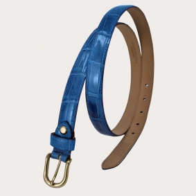 Brucle genuine alligator leather belt, blue