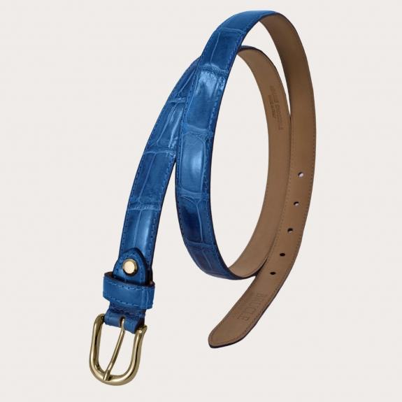 Brucle genuine alligator leather belt, blue