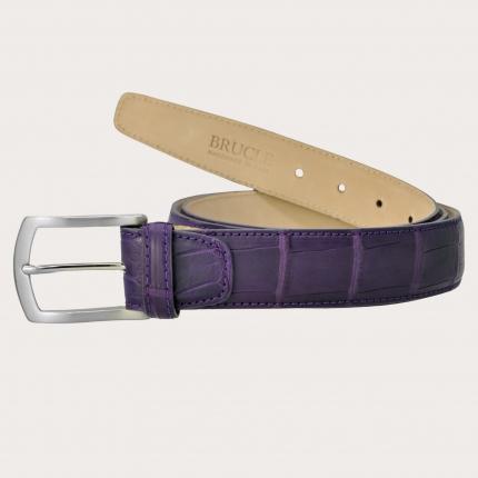 Genuine alligator leather belt, purple