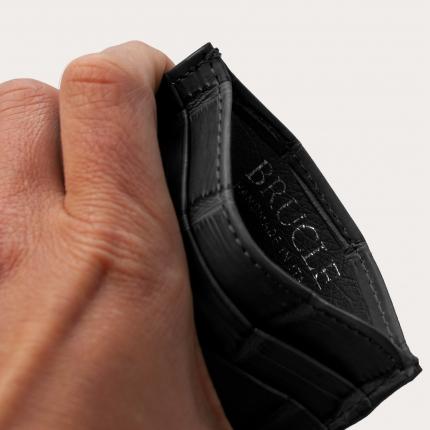 Brucle custodia luxury nera Porta carte di credito in fianco coccodrillo