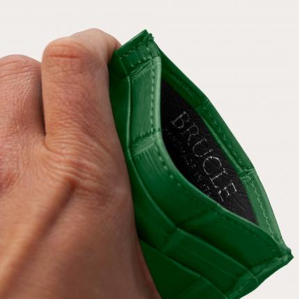 Brucle custodia luxury verde porta carte di credito in alligatore